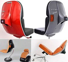 poltrona vespa a perfect christmas gift Car Part Furniture, Automotive Furniture, Automotive Decor, Automotive Design, Cool Furniture, Retro Furniture, Furniture Ideas, Classic Vespa, Best Office Chair