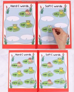 Hard And Soft C Words File Folder Game File folder games are great for young learners that might struggle with a certain subject as well as a good resource for introducing a new subject and revision of things learned. English Activities, Preschool Learning Activities, Preschool Printables, Book Activities, Teaching Kids, File Folder Games, Jolly Phonics, Kindergarten Reading, Lessons For Kids