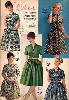 Charming cotton day dresses from the National Bellas Hess catalog, 1963. Mom  called these 'house dresses!' I had several like the middle one...blue, magenta, cocoa.