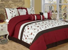 Furniture and Decorators: 7 Piece Full Sakura Embroidered Bedding Comforter Set in and Bed Comforter Sets, Comforters, Bedroom Bed, Bedroom Decor, Master Bedrooms, Bedroom Ideas, Designer Bed Sheets, Embroidered Bedding, Home Decor Furniture