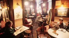 Café Hawelka, Vienna --several more nifty European coffee house pictures on the link