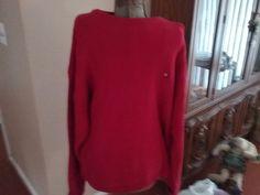 Chaps Ralph Lauren Vintage Crest Red Ribbed Knit Crewneck Sweater Mens XL VTG #RalphLauren #Crewneck