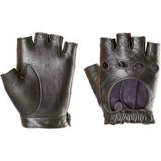 Black Leather Studded Fingerless Half Finger Driving Gloves Lara Croft Cosplay