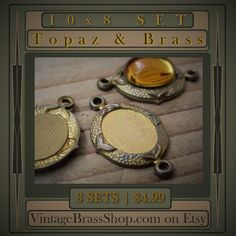 3PC #RARE #OLD #BRASS 10X8 #CONNECTOR #SETTINGS    Plus 3 #Vintage 10X8 #SwarovskiCrystal #Topaz #Cabochons Included Free    These old settings are high #quality genuine brass    You receive 3 settings and 3 #stones    Textured pad for greater adhesion. Recessed pad, stone sits into the setting    Very unique vintage settings with lovely #victorian textured design    Overall, each connector measures a bit under 1 inch (including loops)    Your pieces will be randomly drawn from my stock…