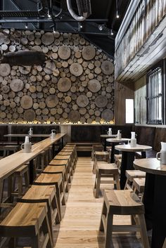 New Wall Design Restaurant Interiors Floors 19 Ideas Deco Restaurant, Restaurant Interior Design, Bistro Interior, Modern Restaurant, The Barn Restaurant, Modern Interior, Forest Restaurant, Room Interior, Brewery Design