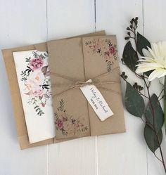 Floral Wedding Invitation. Rustic Wedding Invitation. Boho