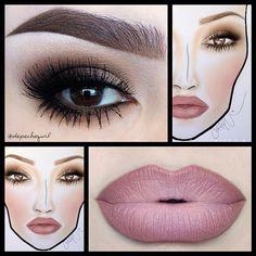 """ΜΑC """"Whirl"""" Lip Liner, """"Pink Plaid"""" Lipstick- creation by depechegurl face chart by cassieemua"""