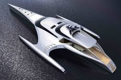 The Adastra superyacht, designed by John Shuttleworth Designs Ltd.  42.5 metres long, 15 million Dollars and can be controlled via an iPad.