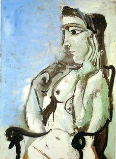 Picasso Femme nue assise dans un fauteuil. 2-May 7-June 1964.jpg (727×1000)