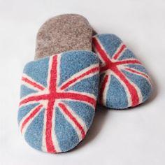 Union Jack Slippers, UK Flag felted wool slippers Felted Wool Slippers, Uk Flag, Sheep Wool, Union Jack, Wool Felt, Comfy, Leather, Handmade, Hand Made