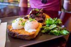 Char siu pork belly with slow cooked eggs on ciabatta toast at Smuggled Seeds