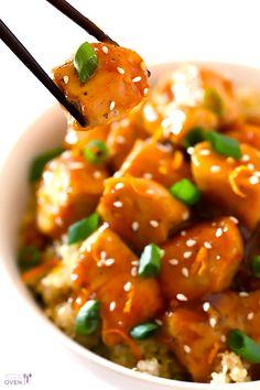 Skinny Orange Chicken Recipe | gimmesomeoven.com #newyears #chicken #recipe