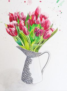 Watercolour tulips print flowers illustration by Sarahnicknicks