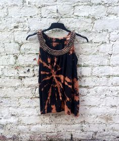 Boho Top Tie Dye Womens Tank with Studded Collar to by AbiDashery
