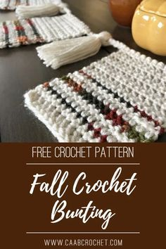 This free pattern for a fall crochet bunting is beginner friendly and easy to understand. It is a simple and attractive addition to your fall decorations. Hang it up on a mantel, a doorway or a cupboard to add a little seasonal flair! #caabcrochet #freecrochetpattern #bunting Crochet Patterns For Beginners, Easy Crochet Patterns, Free Crochet, Crochet Fall, Beginner Crochet, Crochet Ideas, Crochet Bunting Pattern, Crochet Garland, Crochet Cushion Cover