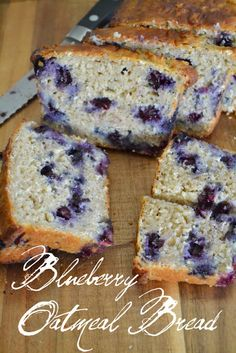 Blueberry Oatmeal Bread… 36 grams of protein from Greek Yogurt and substitute oil for apple sauce. Blueberry Oatmeal Bread… 36 grams of protein from Greek Yogurt and substitute oil… Yummy Treats, Delicious Desserts, Dessert Recipes, Yummy Food, Blueberry Oatmeal Bread, Healthy Blueberry Bread, Oatmeal Cake, Banana Nut, Sweet Bread