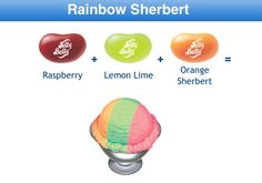 Rainbow Sherbert Jelly Belly Flavor Recipe Bean Recipes, Candy Recipes, Jelly Belly Flavors, Orange Sherbert, Belly Belly, Ice Cream Cookies, Best Candy, Lemon Lime, Jelly Beans