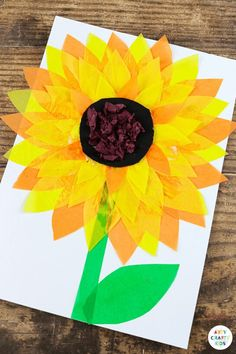 Looking for a fun Summer craft to try with your children? check out this glorious and easy sunflower craft for kids!   Whilst we're sure that children of all ages would enjoy this easy craft for kids, it's particularly great for preschoolers and young children. The tracing and cutting helps to develop fine motor skills and the different textures make it a really tactile activity. Children can also use the layering of the petals to explore depth and color, as the shades change when they overlap.