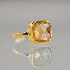 Citrine Ring   Gemstone Ring  Bezel Ring  November by delezhen, $66.00