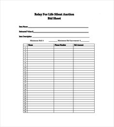 SILENT AUCTION FORM | Special events | Pinterest | Silent auction ...