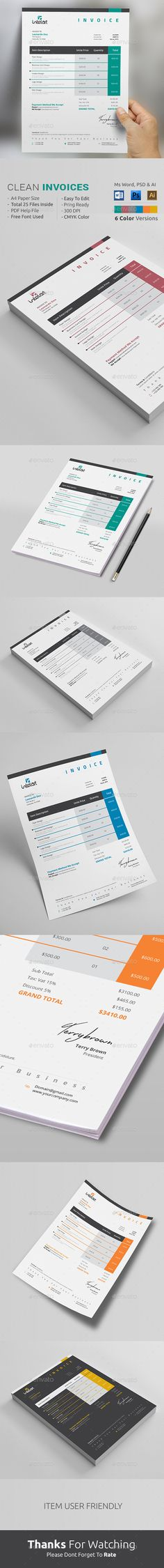 Invoice Template for stylish online professionals. Available in MS WORD, PSD & AI format. Download http://graphicriver.net/item/invoice/13634048?ref=themedevisers