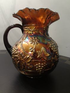 Dugan Floral Carnival Glass Electric Blue Floral & Grape Water Pitcher Amethyst.