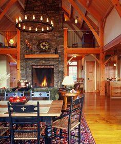 fireplace and loft area