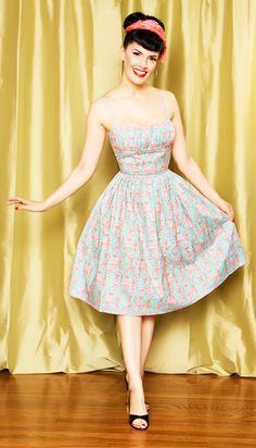 Rockabilly Girl by Bernie Dexter**50s Style French Eiffel Tower Print Swing Dress - S to XL - Unique Vintage - Bridesmaid & Wedding Dresses