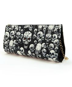 Look at this Black & White Skull Chain-Strap Clutch on #zulily today!