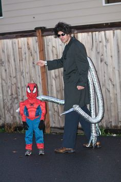 Doc Ock and Spiderman costumes Father and Son Halloween