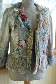 Inspired by antique tapesties, soft rococo shades.. Whimsy vintage linen jacket, reworked with intricate details to discover.Hand dyed in soft shades of gray, cream, sand to get the patinated timeworn shades. The hems are draped with antique handmade cotton lace (embroidered tambour lace