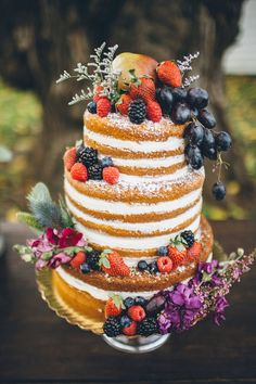 Rustic Naked Cake Topped with Fresh Fruit and Flowers | Irmani Fine Art Photography on @tidewatertulle