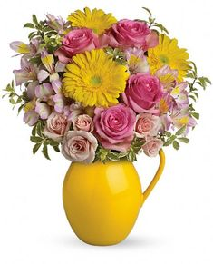 Teleflora's Sunny Day Pitcher Of Charm Flowers would be a pretty center piece for your ALSF-themed wedding! April 1 - September 30, @Teleflora will donate to 10% to ALSF!