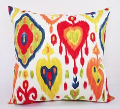 Two Red Blue Green and Yellow Ikat Pillow by CastawayCoveDecor, $28.00