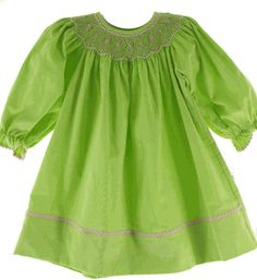 Smocked Fall Dresses Girls Girls lime green smocked dress
