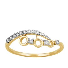 0.13 Ct Round Cut Real Genuine Diamond Solid 10k Yellow Gold Bypass Band Ring #CaratsForYou #Cluster #EngagementWeddingAnniversaryPromiseValentine