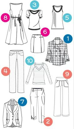 22 looks for less - cost per look (what amazing possibilities in this capsule wardrobe) 1. bracelet sleeve jacket 2. Convertible Capri 3. Short sleeve sweater 4. Modern Straight Leg jean 5. rib tank 6. denim skirt 7. denim blazer 8. Jersey dress 9. Modern Straight leg pant 10. Long Sleeve V-neck tee