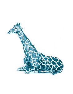 "NUBSY - Zoo Study Giraffe Sketch in BLUE - Original Art Print 8.5"" x 11"""
