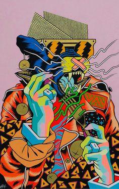 Brazilian Artist Duo Bicicleta Sem Freio is part of Trippy art - Tomorrow night JustKids presents the Brazilian artist duo known as Bicicleta Sem Freio's firstever show in London See more of the Graffiti, Art Inspo, Drawings, Illustration Art, Art, Art Wallpaper, Street Art, Pop Art, Graphic Art