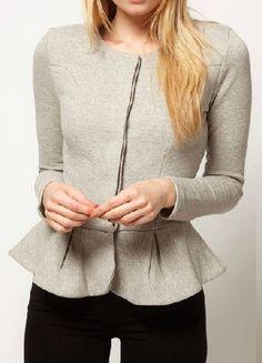 Light Grey Round Neck Long Sleeve Ruffles Crop Coat
