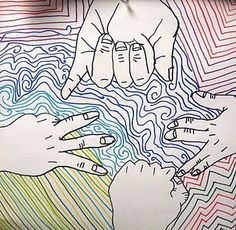 I like how the hands are drawn, along with the beauty of all of the different colored lines.