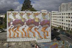 Rennes, Francia  Aryz es uno de esos artistas contemporáneos que viajan de proyecto en proyecto por medio mundo. Su obra es reconocida por un uso especial del color. Empezó pintando por pura diversión en zonas poco transitadas, bajo puentes y vías de tren. En 2010 le invitaron a pintar una gran fachada en Italia, desde entonces su trabajo empezó a verse más.