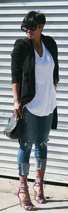 Distressed Jeans and Blazer / Fashion by Kyrzayda