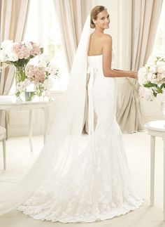 Trumpet/Mermaid Strapless Sweetheart Sweep Train Sash Beading Lace Covered Button Strapless Sleeveless Church Garden / Outdoor No Winter Spring Fall Ivory White Wedding Dress