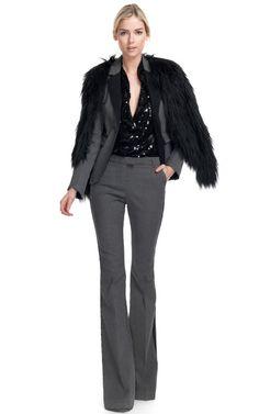 Rachel Zoe --- Tenley Sequin Tunic (650), Hutton Denim Flare Pant (275), Hutton Tailored Denim Jacket (395), Brooklyn Raglan Fur Jacket (395) = Total $1715