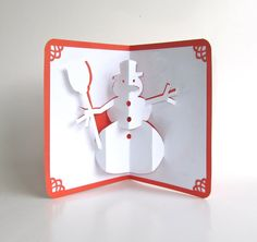 SNOWMAN 3D Pop Up CHRISTMAS Greeting Card in Shimmery by BoldFolds