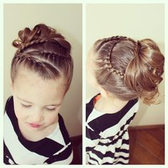 Lace braids into curly updo