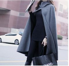 Burrima Winter Women New Fashion Scarves Solid Gray Long Poncho With Hoodie Wool Scarf