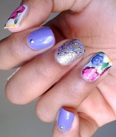 Flower Mix and Match #purple #lavender #floral #glitter #nailart - bellashoot.com