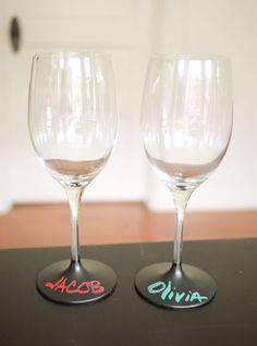 DYI Chalkboard Wine Glasses with Chalk Ink Markers